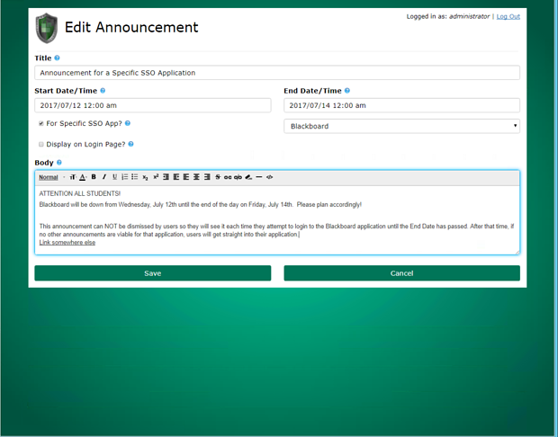 Benefits of Announcements for Specific Applications