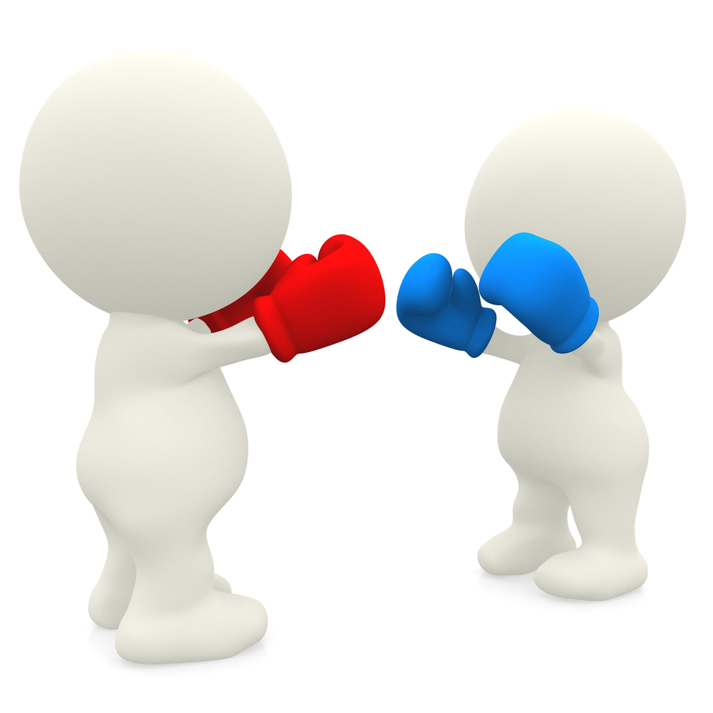 3D couple boxing - isolated over a white background
